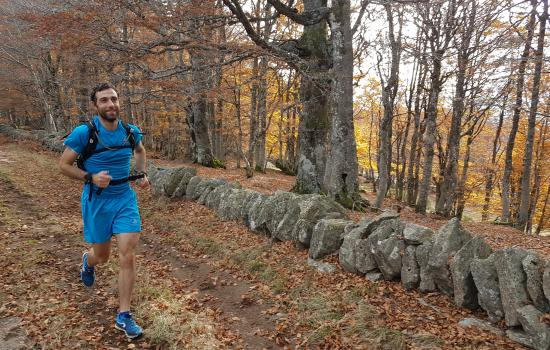 En automne, trail dans les Monts d'Ardèche