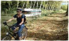 Sous les platanes, randonnee velo paisible le long du Canal du Midi